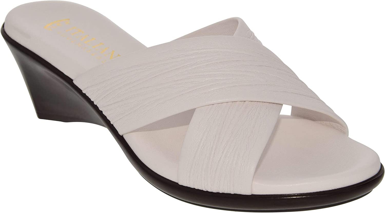ITALIAN Shoemakers Softy Comfort Flex Women Cross Band Double Strap White Wedge Slide Sandal (7)