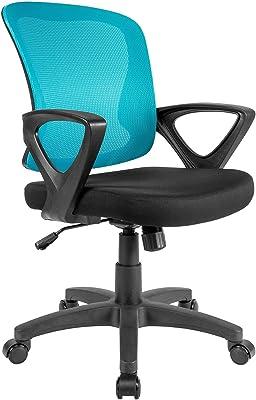 QY - Silla de oficina ergonómica giratoria de malla azul con brazos, altura ajustable