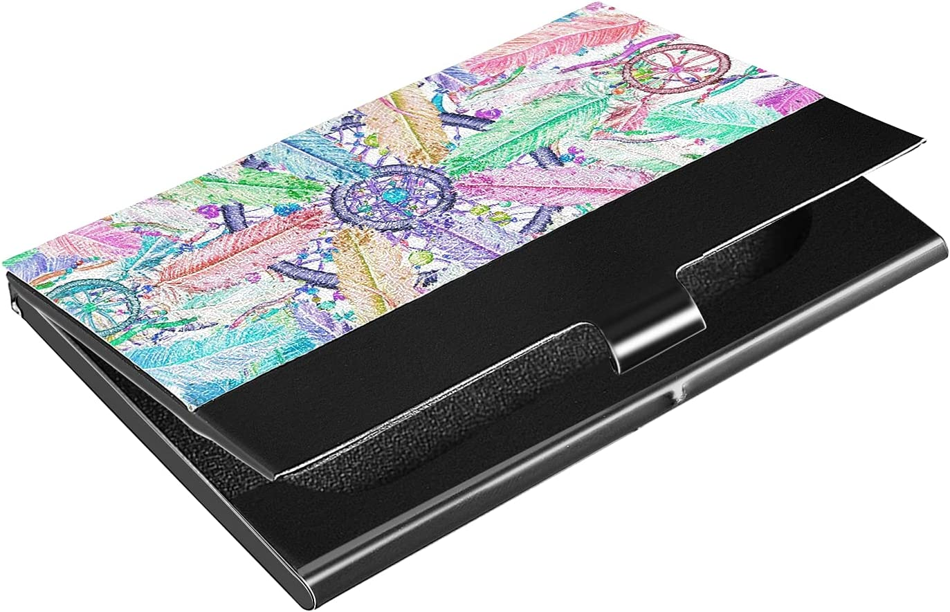OTVEE Watercolor Bohemian Dreamcatcher Business Card Holder Wallet Stainless Steel & Leather Pocket Business Card Case Organizer Slim Name Card ID Card Holders Credit Card Wallet Carrier Purse for Wom