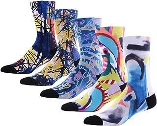 Men's Novelty Socks, MEIKAN Digital Printing Funky Patterned Crew Socks 3, 4, 5, 6 Pairs