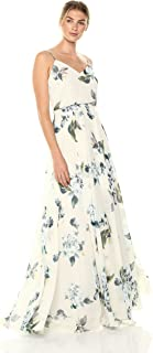 Jenny Yoo Women's Inesse Thin Strap V Neck Long Floral Chiffon Gown