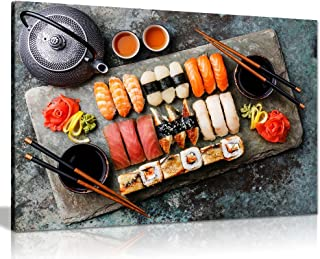 Japanese Sushi Rolls Restaurant Food Canvas Wall Art Picture Print (30x20in)
