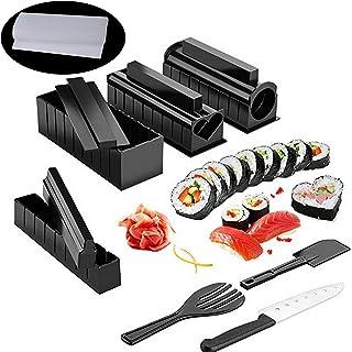 Kit Sushi Maki Complet, Cuisine Machine Sushi Maker 12 Pièces Compatible Avec Riz Japonais Set Ustensiles Avec Couteau + T...