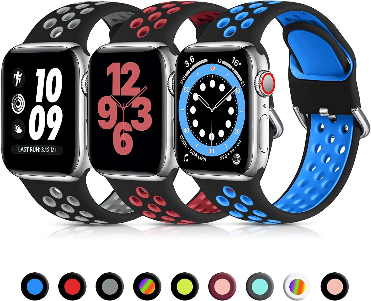 Lerobo 3 Pack Compatible for Apple Watch Bands 40mm 38mm 44mm 42mm, Soft Silicone Sport Strap Breathable Replacement Band for Apple Watch SE iWatch Series 6, Series 5 4 3 2 1 Women Men, 38mm/40mm-S/M