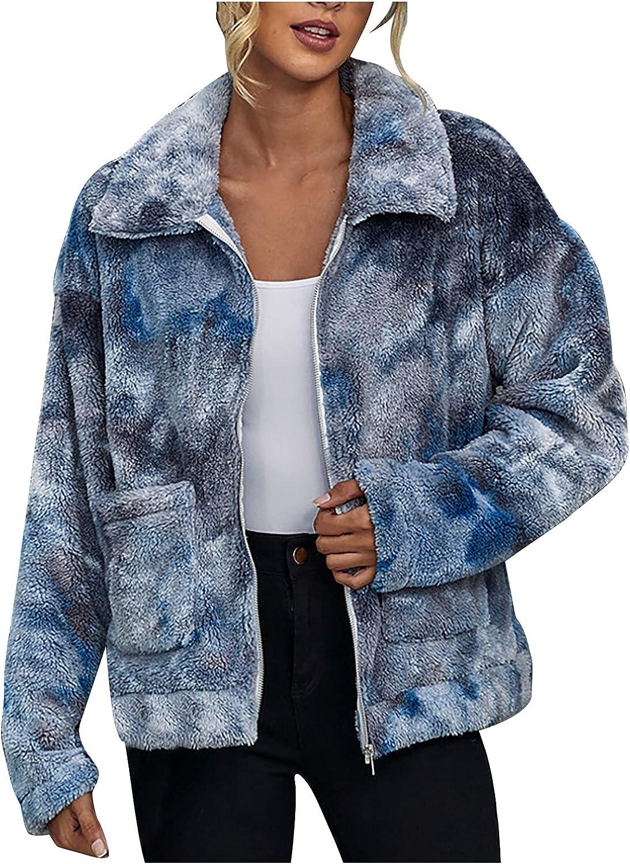Women's Sherpa Jacket Full Zip Coat Casual Lapel Tie Dye Fuzzy Fleece Faux Shearling Zipper Trendy Cozy Outwear