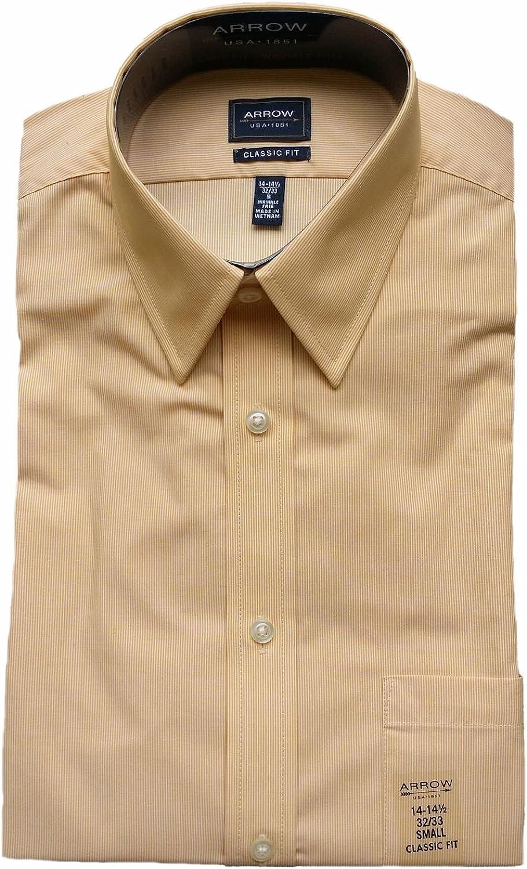 Arrow Men's Classic Fit Wrinkle Free Fineline Striped Dress Shirt