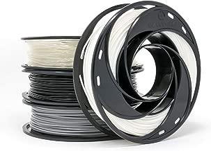 Gizmo Dorks PLA Filament for 3D Printers 1.75mm 200g, 4 Color Pack - Black, Grey, Transparent, White