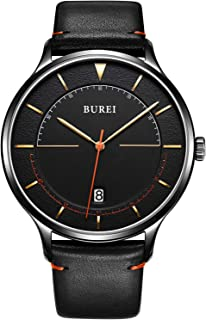 BUREI Unisex Quartz Slim Minimalist Designer Date Wrist Watches with Leather & Mesh Band