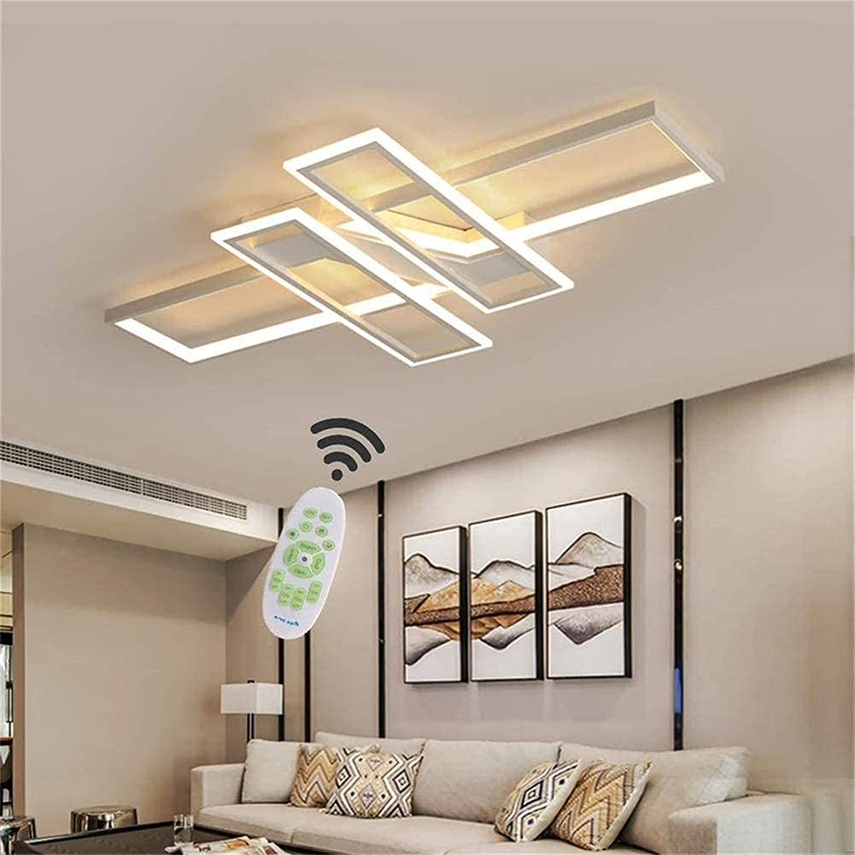 Lámpara colgante, iluminación de sala de estar con atenuación remota Luz de techo Lámpara de techo con atenuación LED cuadrada Lámpara de techo de acrílico para cocina Restaurante Isla (Color: Blanc