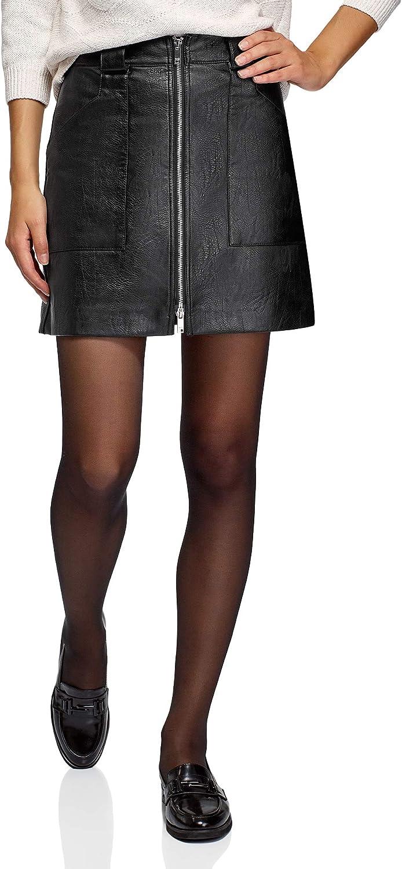 oodji Ultra Women's Faux Leather Trapeze Skirt