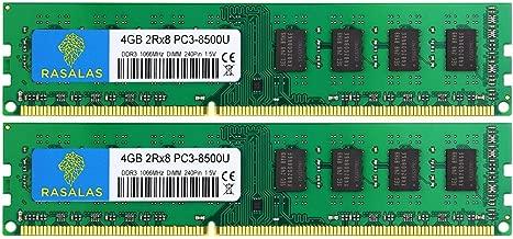 Rasalas DDR3 8GB Kit (2x4GB) PC3 8500U DDR3 1066 Mhz DDR3 Dimm 1066, DDR3-8500 4GB 2Rx8 PC3 DDR3 Ram 240-pin Desktop Memory Modules