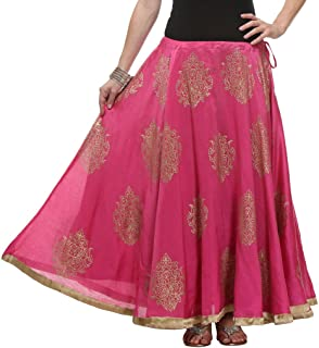 NIKA Women's Chanderi Hand Block Printed Long Skirt by Kaanchie Nanggia (KNA-2050_Pink_Freesize)