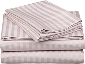 100% Egyptian Cotton 650 Thread Count California King 4-Piece Sheet Set, Deep Pocket, Single Ply, Stripe, Lavender