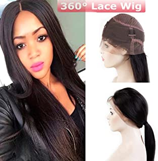 360 Lace Frontal Wig with Baby Hair Straight Glueless 360 Lace Wig Pre Plucked Natural Hairline Virgin Human Hair Wigs for Black Women 130% Density 1B Natural Black 16''