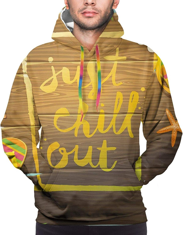 Men's Hoodies Sweatshirts,Hand-Written Calligraphy Design for Summer Vacation Seasonal Inscription