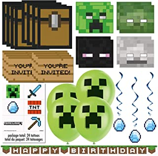 Unique Minecraft Party Favors & Decorations Bundle - Officially Licensed Birthday Party Supplies Minecraft Invitations, Ma...