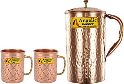 Angelic Copper Handmade Jug with Designer Cup Set, Set of 2, Brown