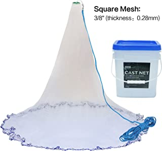 Goture Professional Real Lead American Saltwater Fishing Net Heavy Duty Cast Net with Bucket for Bait Trap Fish 7ft/8ft/10ftRadius - 3/8inch Mesh Size