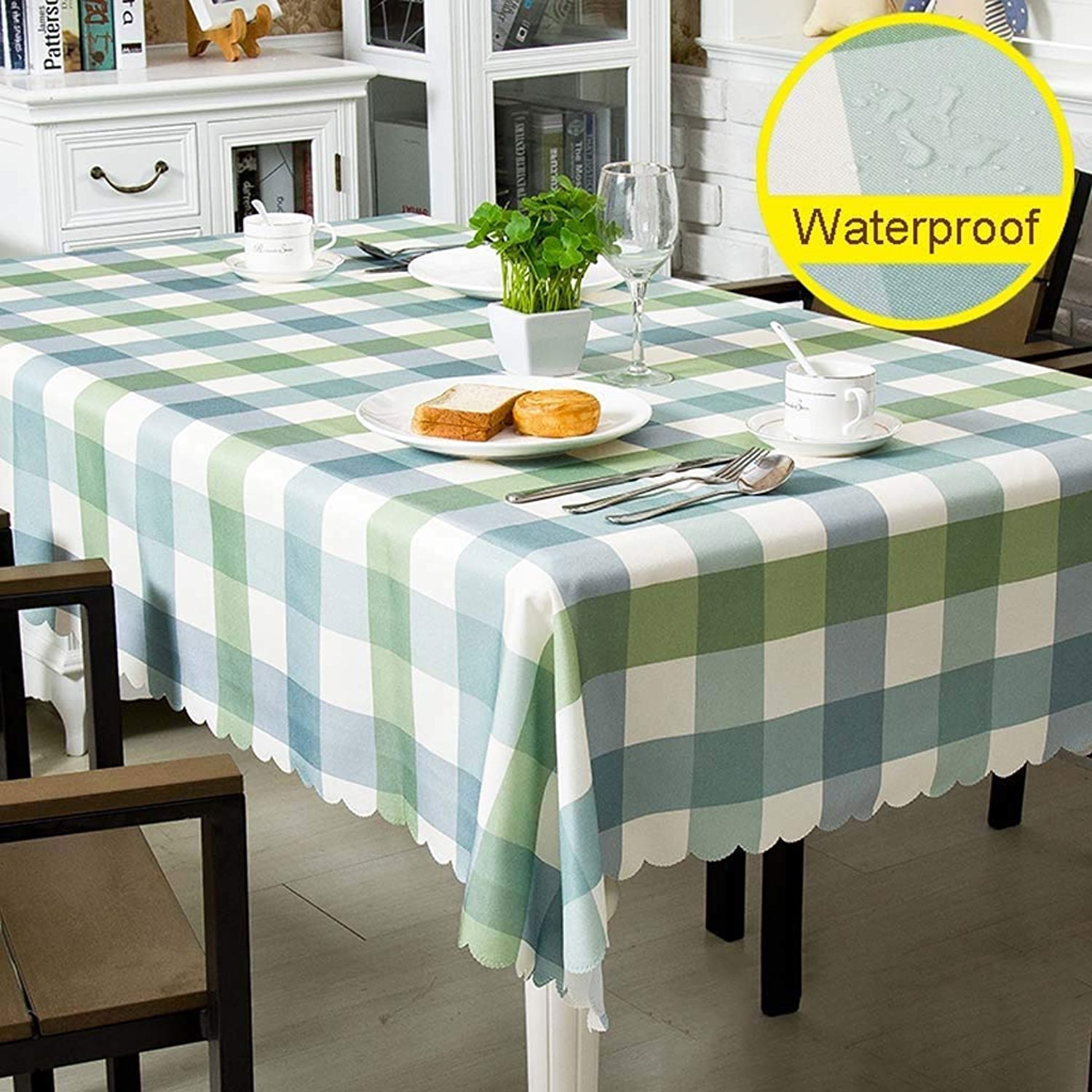 JJSFJH Nappe Nappe en Polyester Imperméable à L'huile Imperméable Imperméable à L'eau Nettoyer Table Table Cover for Cuisine Salon Salle à Manger Moderne Table Nordic Table Rectangle Nappe Coton Table
