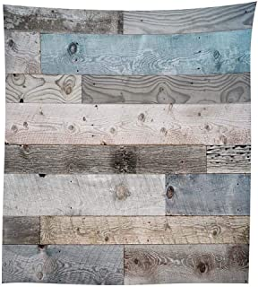 Wooden Tablecloth, Blue Grey Grunge Rustic Planks Barn House Wood and Nails Lodge Hardwood Graphic Print, Dining Room Kitchen Rectangular Table Cover (55