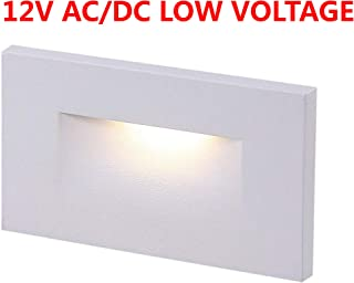 Cloudy Bay 12V Low Voltage LED Step Light,3000K Warm White 3W 100lm,Stair Light,White Finish