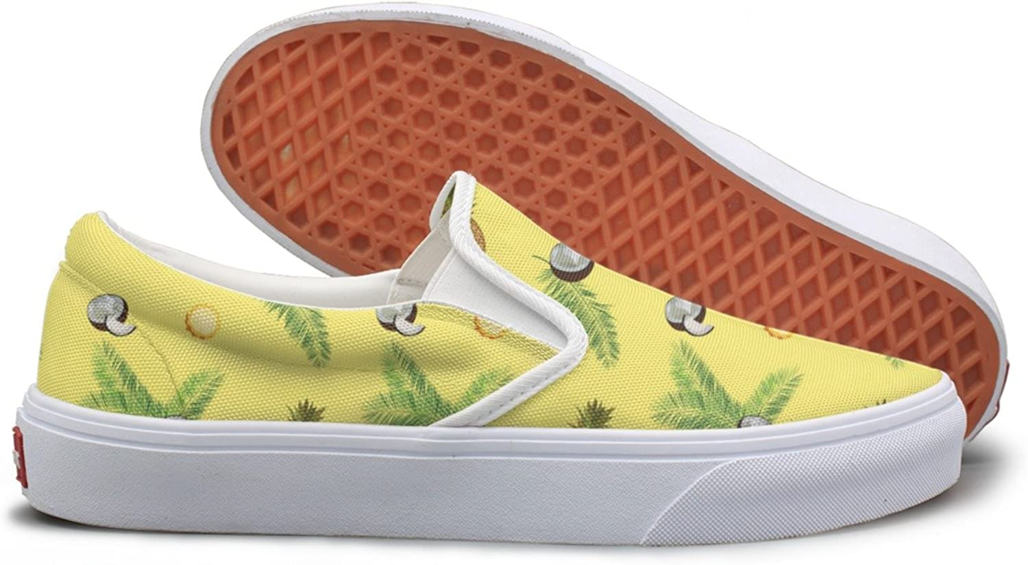 Lalige Yellow Pineapple Coconut Palm Womens Stylish Canvas Slip-ONS Sneakers shoes