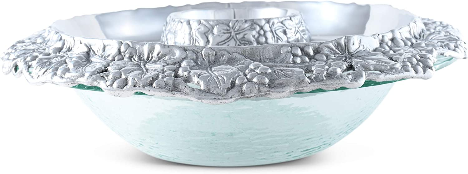 Arthur Court Designs Max 72% OFF Aluminum Grape Fashion Tray Chilling Glass with Bow