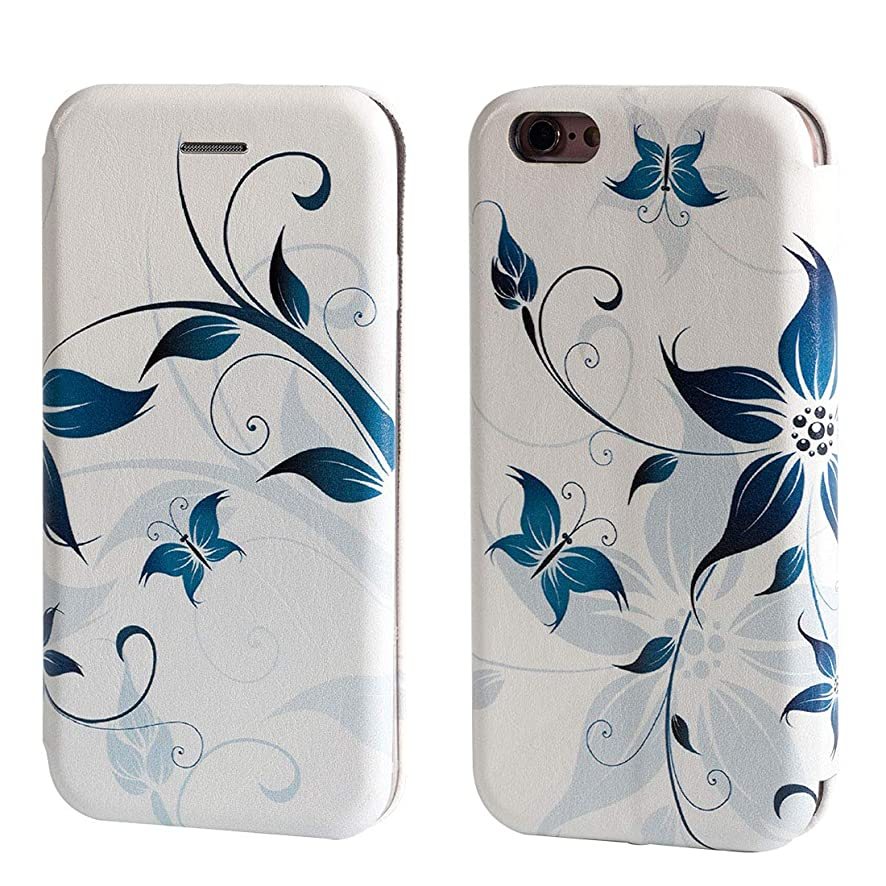 iPhone 6 Case,iPhone 6s Case,Vobber Flip Folio Book Design PU Leather Wallet Stand Feature Protective Cover with Card Slot & ID for iPhone 6/6s -Blue Butterfly Flower (White)
