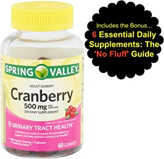 Cranberry Gummies Urinary Tract Health, 500mg, 60ct from Spring Valley with Bonus 'No Fluff' Guide