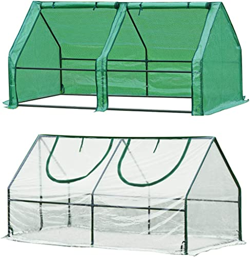 "Quictent 2 Covers Waterproof UV Protected Reinforced Mini Cloche Greenhouse 71"" WX 36"" D X 36"" Portable Green Hot Hou..."