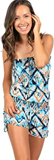 Printed Tie Dye Smocked Romper Cover Up Jumper Strapless Beach Jumpsuit