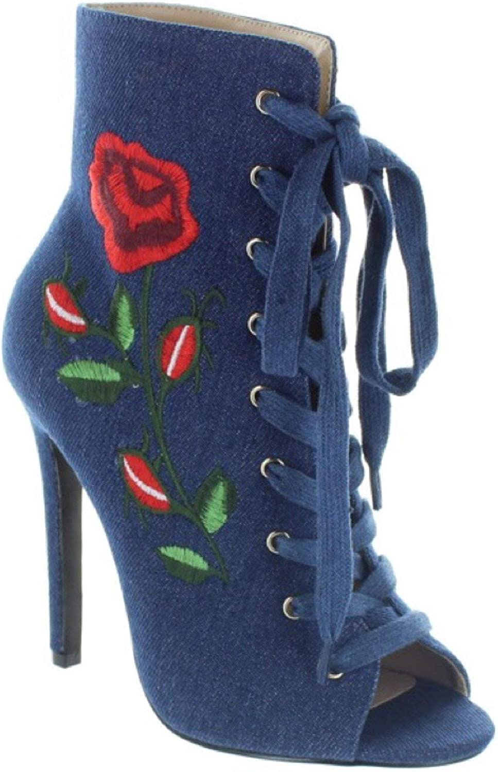 Mona Mia Embroidered Floral pink Lace Up Ankle Boot - Denim bluee