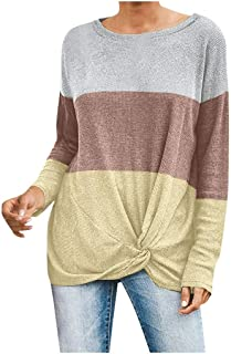 ANJUNIE Womens Casual Color Block Splicing Pullover Tops Loose Lightweight Tunic Shirt Sweater