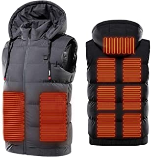 USB Electric Heated Vest Underwear Thermal Jacket with 3 Adjustable Temperature, 9 Heating Zones Heated Gilets for Skiing,...