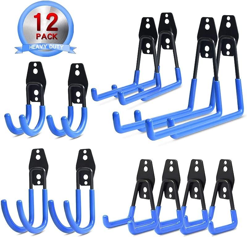 NZACE Garage Hooks Storage Utility Double Hooks Heavy Duty For Organizing Power Tools Ladders Bulk Items Bikes Ropes Etc 12 Pack