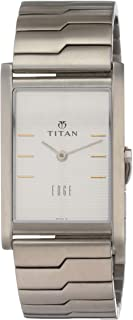 Titan Men's 'Edge' Quartz Stainless Steel Dress Watch, Color Silver-Toned (Model: 1043SM14)
