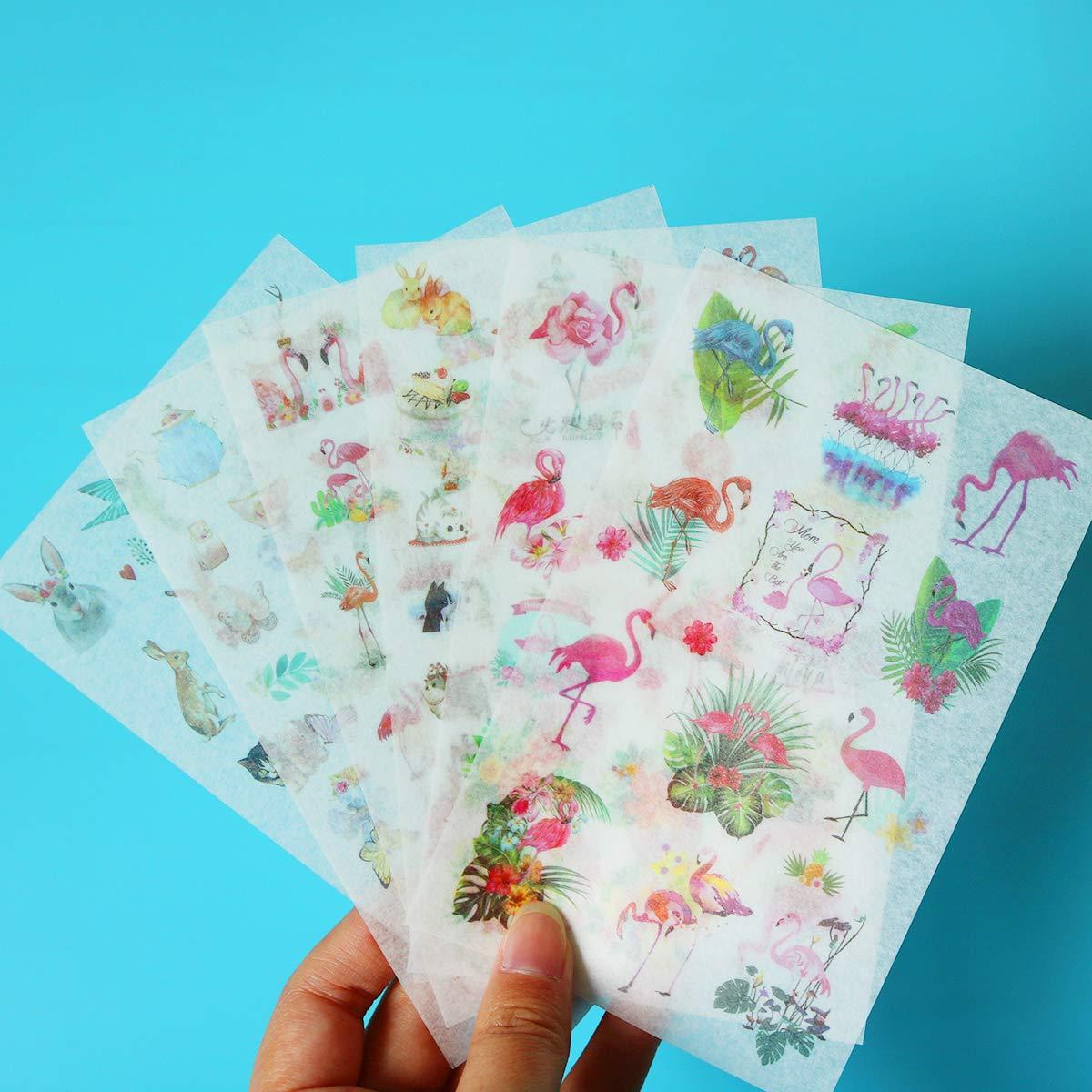 Flamingo Style Note Stickers, (6 Sheets) Garden Wildflowers Decorative Sticker for Scrapbooks, Notebook, Journal, Card Making, Album,Calendars,DIY Crafts (Flamingo)