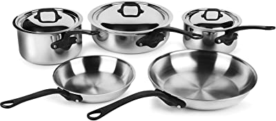 Mauviel M'Cook Pro 5-ply Stainless Steel Cookware Set, 8-piece