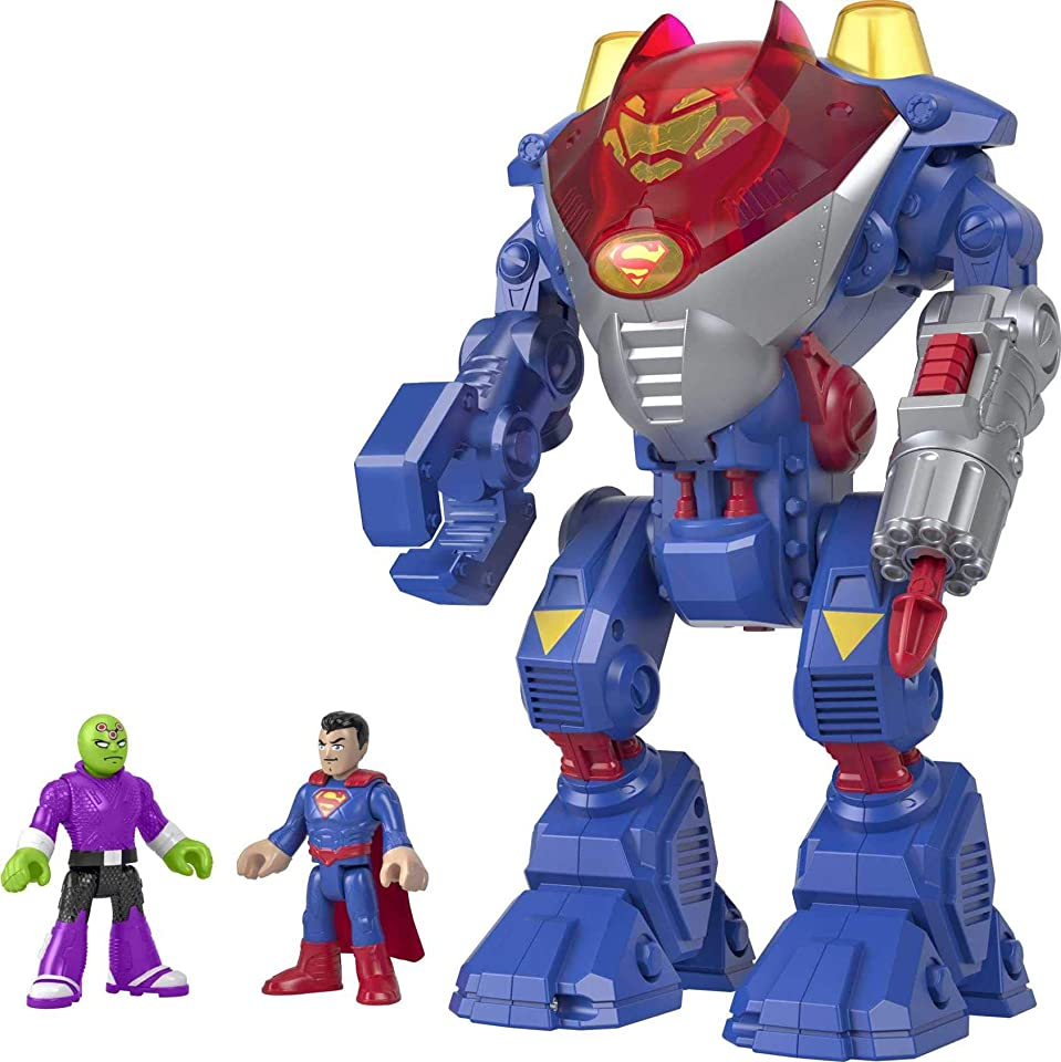 Fisher-Price Imaginext DC Super Friends Superman Robot, robot toy playset with character figures for preschool kids ages 3 to 8 years old [Amazon Exclusive]