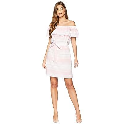 U.S. POLO ASSN. Off Shoulder Stripe Dress (Pink Shore) Women
