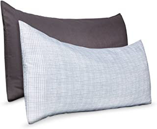 Body Pillow Cover 2 Pack - Grey Solid and White Gray print 50in x 20in