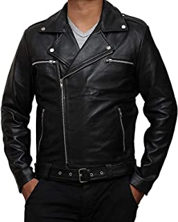 The Walking Dead Negan Leather Jacket Mens Casual Cosplay Slim Biker Coat Jacket