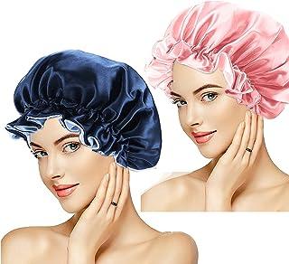 2pcs Bonnet Satin Cheveux Nuit Bonnet de Sommeil Reglable Bonnet de Nuit Afro Bonnet en satin pour Femme Dormir Bonnet,Tur...