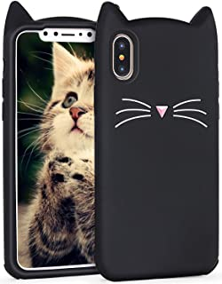 Joyleop Case for iPhone X/XS,Cartoon Soft Silicone Cute 3D Fun Cool Cover,Kawaii Unique Kids Girls Lady Cases,Lovely Animal Character Rubber Skin Shockproof Protector Cases for iPhone X/XS Black Cat