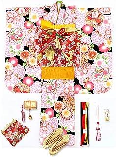 七五三 7歳 着物 フルセット 女の子 式部浪漫 ブランド 子供着物 結び帯セット 合繊「黒地 菊と鞠」SR16-10y801YY