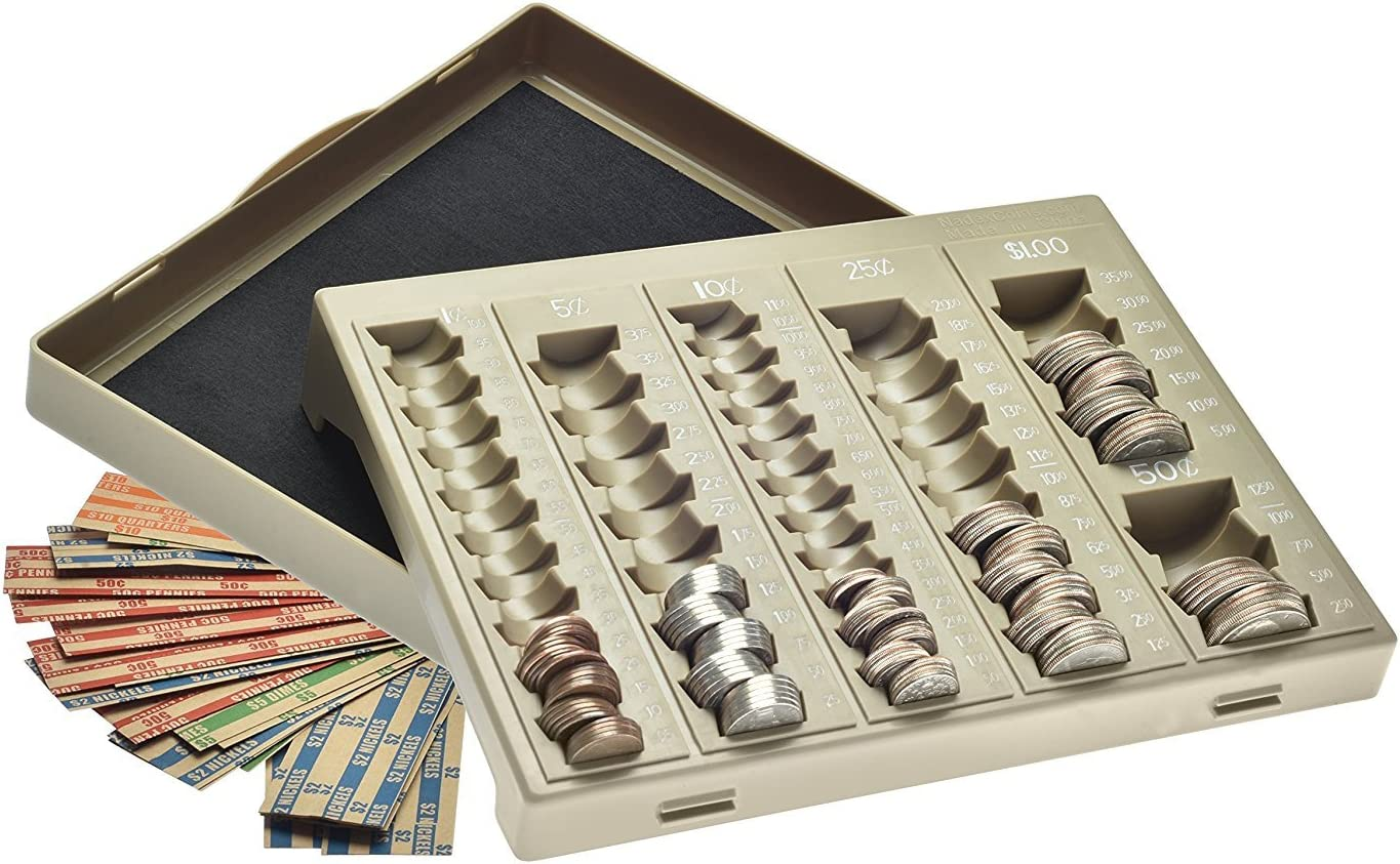 Nadex Coin Handling Tray | Bank Teller and Change Counter Coin Counting and Sorting Tray with 6 Compartments for U.S. Coins with Cover - 32 Coin Wrappers Included (Beige) : Office Products
