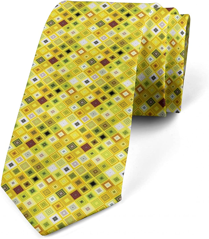 Ambesonne Necktie, Mosaic Tile Square Motif, 3.7