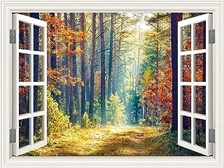 SUMGAR 3D Wall Mural Woodland Autumn Window Views Wall Art Self Stick Decals for No Window Rooms,48x36 inch