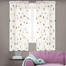 Anjee Solid White Sheer Curtains 63 Inches Long, Rod Pocket Voile Drapes with Gold Stars for Kids Room 2 Panels, Each 54 inches by 63 inches for Party Decoration