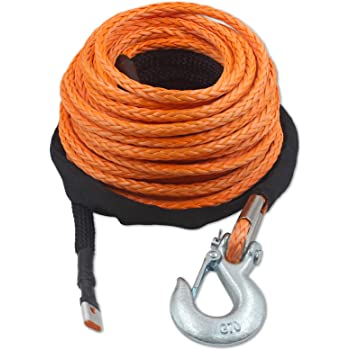 TYT 3//16 x 50 Synthetic Winch Rope Kit Snap Hook and Rubber Stopper for 4x4//ATV//UTV//Jeep 7000LBs Synthetic Winch Line Cable Rope with Black Protecing Sleeve Orange